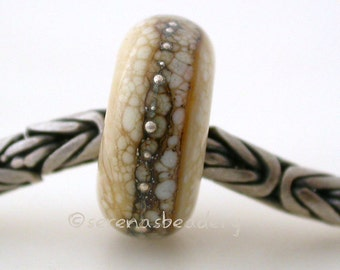 Dark Ivory GRANITE SILVER European Charm Handmade Lampwork Glass Bead - taneres - 14 mm