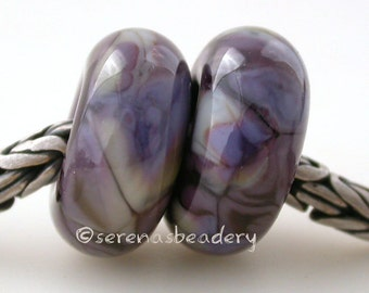 European Charm PERUVIAN ORCHID Purple Pair Lampwork Glass Beads - TANERES
