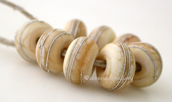 DARK IVORY Matte with fine SILVER Wraps - Handmade Lampwork glass beads - taneres