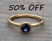 CLEARANCE - Fair Trade AAA Australian Sapphire and Recycled 14k Yellow Gold Ring, Size 7.5