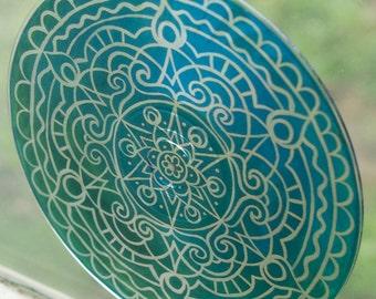 Teal Mandala Suncatcher - Bohemian Home Decor - Psychedelic Geometric Art - Turquoise Meditation Mandala