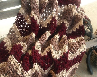 Hand Crocheted Decorative Afghan  Lacy Ripple in Burgundy Coffee and Buff Colors