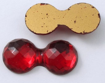 30mm Double Bubble Faceted Red Cabochon #409