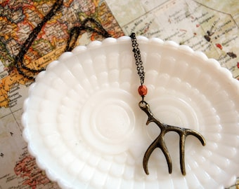 antler necklace- rustic autumn jewelry with copper colored bead on long chain- aged brass