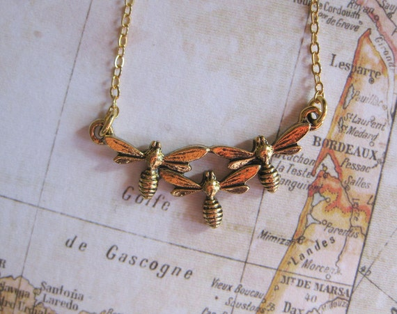 busy bees antique gold plate necklace-vintage insect