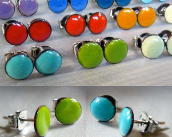 Custom Enamel Mini Dot Stud Post Earrings: One Pair Made to Order Your Choice of 24 Colors and 3 Sizes, Glass Enamel, Sterling Silver