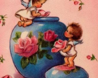 Vintage 1949 A Birthday Greeting Cherubs Greetings Card (B2b)