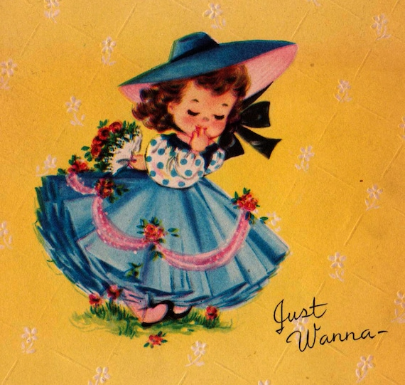 Vintage 1950s Just Wanna Wish You A Speedy Recovery Greetings Card (B2a)