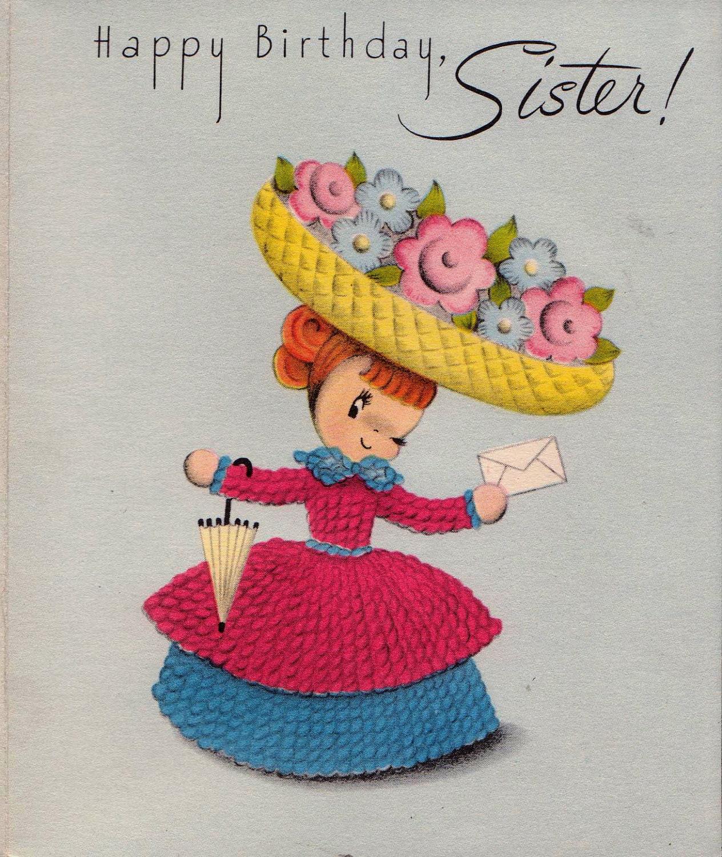 Vintage 1950s Happy Birthday Sister Greetings By
