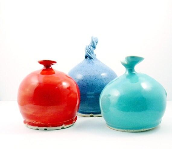 Salt cellar - ceramic French Salt Pig - Salt Keeper with spoon - Sugar Bowl - Bath Salt Holder - for herbs + spices - your choice of colors