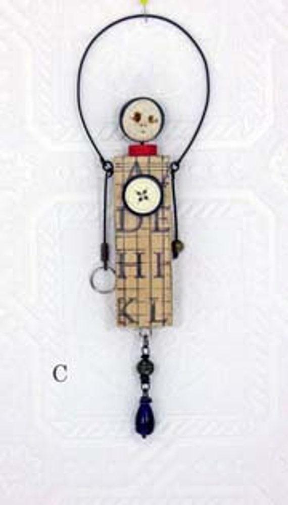 Block Art Doll - Assemblage Mixed Media Original