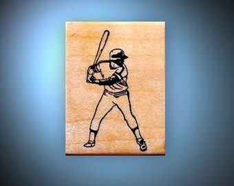 Baseball Batter mounted rubber stamp No.14