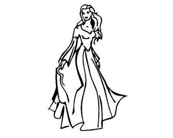 Princess unmounted rubber stamp, lady, beautiful woman No.5