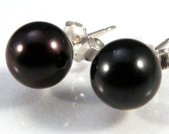 Black Pearl 7mm sterling silver post earrings