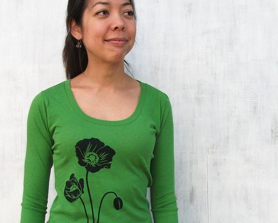 Eco-friedly Womens T shirt - Organic Cotton - Green Poppy - M L XL