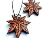 Metallic Copper Japanese Maple Leaf Dangle Earrings
