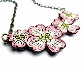 Pink Dogwood Flower Necklace, Flower Bib Necklace, Dogwood Jewelry, Pink Flower Pendant, Wife Gift, Gift for Mom, Gift for Daughter