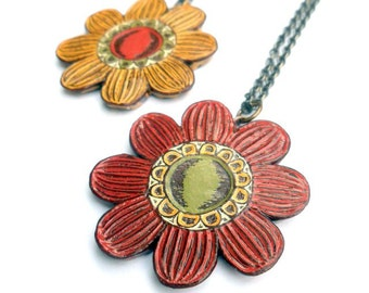 Flower Necklaces - How Does Your Garden Grow Bloom No. 4 - Autumn Fall Rust Red, Olive Green and Mustard Yellow