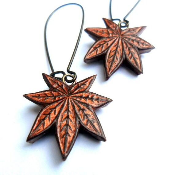 Metallic Copper Japanese Maple Leaf Dangle Earrings