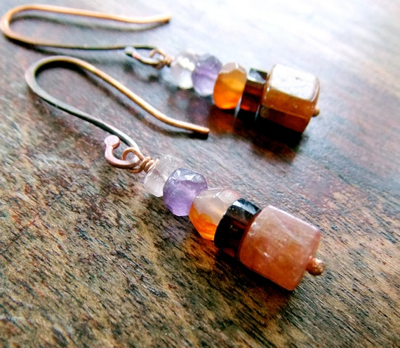 Tiny Tokens - Tourmaline Garnet Carnelian Amethyst Rose Quartz Copper Earrings