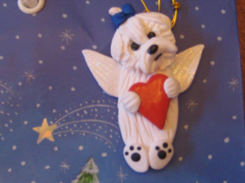 Maltese christmas ornaments - Maltese Dog Puppy Cut Angel Christmas Ornament Zoom