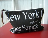 Canvas Clutch I-Pad Cover New York Subway Sign Graphics Leather Pull