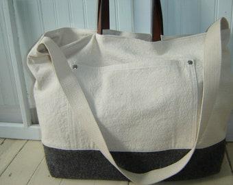 Canvas Leather Tote Bag/Weekender/Laptop Bag Vintage Wool Men's Tote Bag