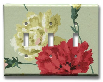Carnation Flowers Red White Triple Toggle Switch Plate 1940's Vintage Wallpaper