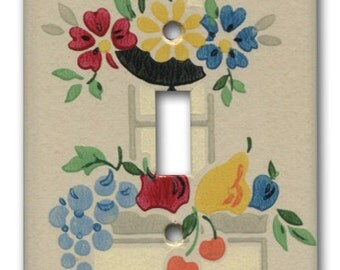 Single Switch Plate 1930's Antique Wallpaper Deco Fruit and Floral