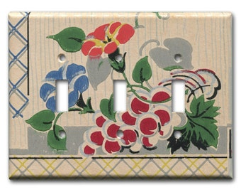 Fruit and Floral 1930's Antique Wallpaper Triple Switch Plate