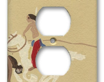 Native American Warrior on White Horse Single Outlet Plate 1950's Vintage Wallpaper