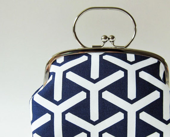 Frame purse with handle navy trident
