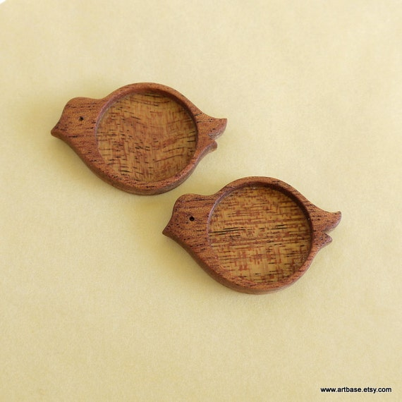 "Bird - Wooden Bezel - Pendant Tray - Brooch Blank - Handmade by Artbase - Mahogany - 1"" Int. Circle - (X12) - Set of 2"