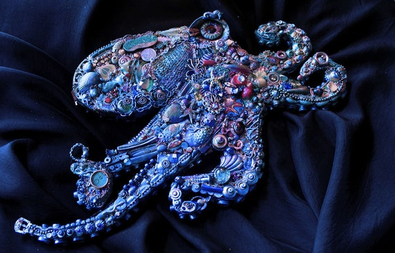 RESERVED for tinamw The Fantastic Bead Mosaics Sealife Series  The Pacific Blue Octopus