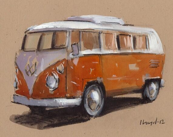 Art Print Car Painting VW Van Hippie Geekery - Orange Bus by David Lloyd