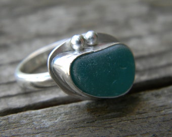 turquoise sea glass ring - sterling silver - size 6 - eco friendly