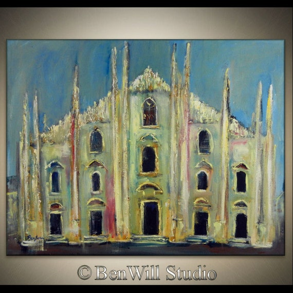 Large ORIGINAL Italian Painting Colorful Blue White Cathedral Fine Art on Canvas, MILAN ITALY 36x28 by BenWill