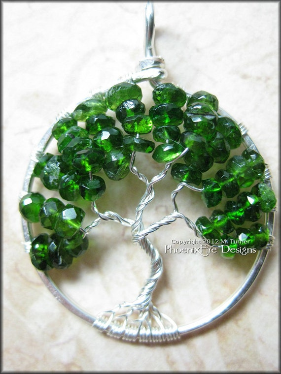 Tree of Life Pendant Chrome Diopside (Siberian Emerald) Wire Wrapped in Sterling Silver Woodland May Birthday Baby Birthstone Evergreen
