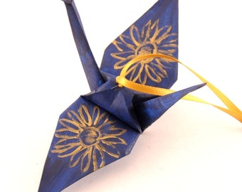 Gold Sunflower on Midnight Blue Origami Crane Ornament, Handpainted Monaco Blue Home Decor