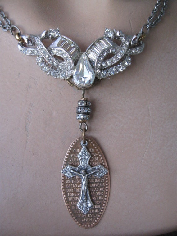 For Thine Is The Kingdom... vintage repurposed lord's prayer necklace