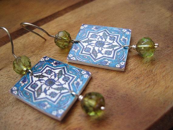 Turkish earrings, Islamic jewelry, Tile design, blue and green earrings, tribal boho, Iznic, Istanbul, free shipping