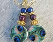 SALE  Peacock Earrings. Gold, Freshwater Pearls.