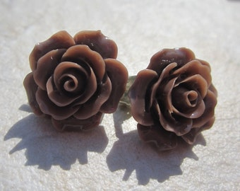 Brown Rose Clip On Earrings