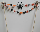 Halloween Cake Bunting, Topper, Decoration, Orange and Black
