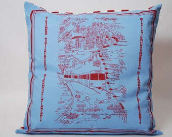 Vintage Commemorative San Diego California Throw Pillow Cover Free Shipping
