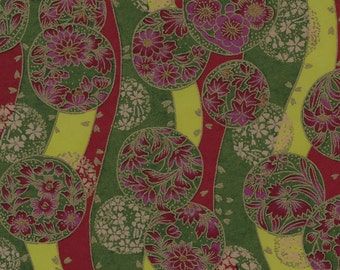 Chiyogami or yuzen paper - waves of bubbles full of blossoms - deep magenta and grass green with gold accents, 9x12 inches