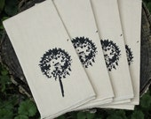 Cloth Dinner Napkins set Organic Cotton Hemp Table Linens screenprint DANDELIONS