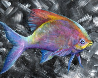 Rainbow Fish 2, Art Print of Acrylic Painting