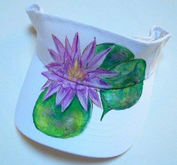 Handpainted Sun Visor (White) with Lotus Flower and Lily Pads, Hat