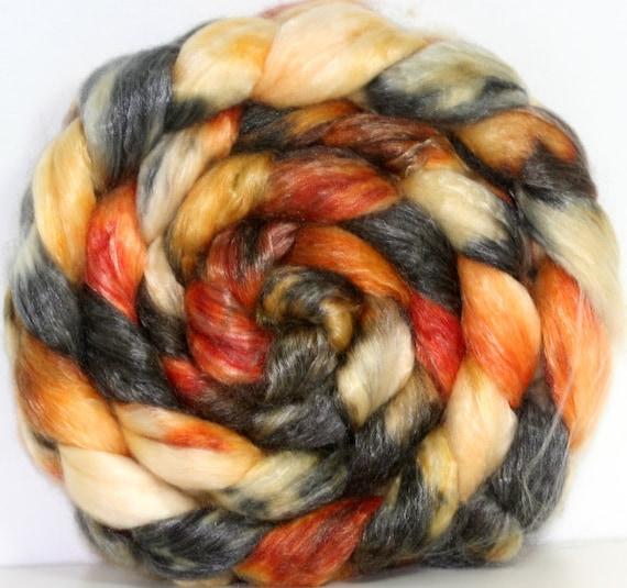 Hand dyed SW Merino-Tencel Roving -- 4.3  oz--
